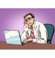 Businessman working on laptop boredom vector image
