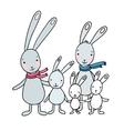 Family of cute cartoon hares vector image
