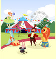 amusement park with circus artists and marquee vector image