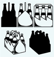 Beer six pack in three boxes vector image