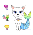 cat face mermaid hand drawn doodle cartoon vector image