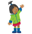 funny little girl waving by hand vector image