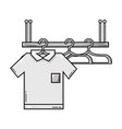 grayscale shelf design with clothes hanging icon vector image