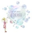 Little girl blowing soup bubbles vector image