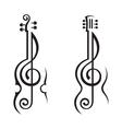 Violin guitar and treble clef vector image