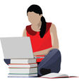 Woman studying vector image