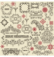 Vintage holiday floral design elements Vector Image