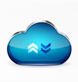 blue modern 3d glass cloud icon vector image vector image