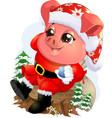 pig in santa costume vector image