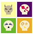 assembly flat icons halloween emotion skull vector image