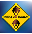 Twins on board sticker vector image