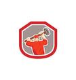 Union Worker Striking Smashhammer Shield Retro vector image vector image