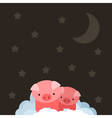 Pig on cloud vector image