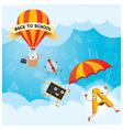 Education Characters Parachute Hot Air Balloon vector image