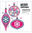 Christmas card with ornaments balls and snowflakes vector image