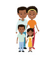 afro american couple parents with childrens family vector image