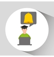 character graduation online education bell vector image