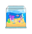 fish tank cartoon cute sea vector image