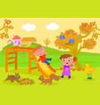 kids in park in autumn vector image