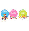 lable designs with children reading and playing vector image