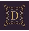 Monogram letter D Calligraphic ornament Gold vector image