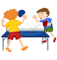 People playing table tennis vector image