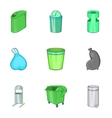 Capacity for garbage icons set cartoon style vector image
