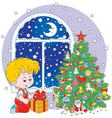 Boy with a Christmas gift vector image