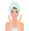 Portrait of a girl shining purity in the sauna tow vector image