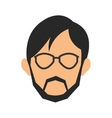 face of man wearing glasses and beard icon vector image