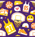 basketball hand drawn cartoon objects seamless vector image