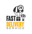Fast delivery service 24 hours logo design vector image