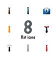 flat icon necktie set of collar cravat textile vector image