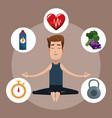 man yoga healthy sport icons vector image