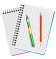 two notebooks green pen and red pencil vector image