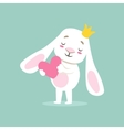 Little Girly Cute White Pet Bunny In Princess vector image