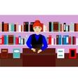 Seller in book shop vector image