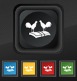Cock-fights icon symbol Set of five colorful vector image