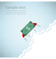 Dollar Bank rocket flying with wings EPS10 vector image
