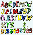 Multicolored alphabet in cartoon style vector image