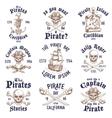 Set of vintage hand drawn pirates designed emblems vector image