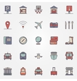 Traveling or travel colorful icons set vector image
