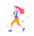 young woman jogging in the park flat vector image