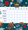 Schedule for students timetable with lessons for vector image