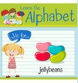 Flashcard letter J is for jellybeans vector image