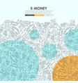 e-money doodle website template design vector image