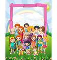 Border design with family members in the park vector image vector image