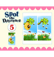 Spot the difference with insects flying vector image