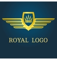 Crown with wings emblem vector image