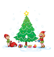 Girls decorating christmas tree vector image vector image